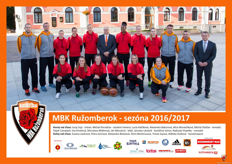 MBK Ružomberok - spoločná fotografia - sezóna 2016/2017
